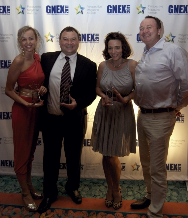 Collecting the awards were (from left): Svetlana Kostromitina, VP of Sales; Vladimir Sucevan, COO; Charlotte Rose Melsom, Global Director of Brand Development; and Bryan Lunt, Chairman & CEO